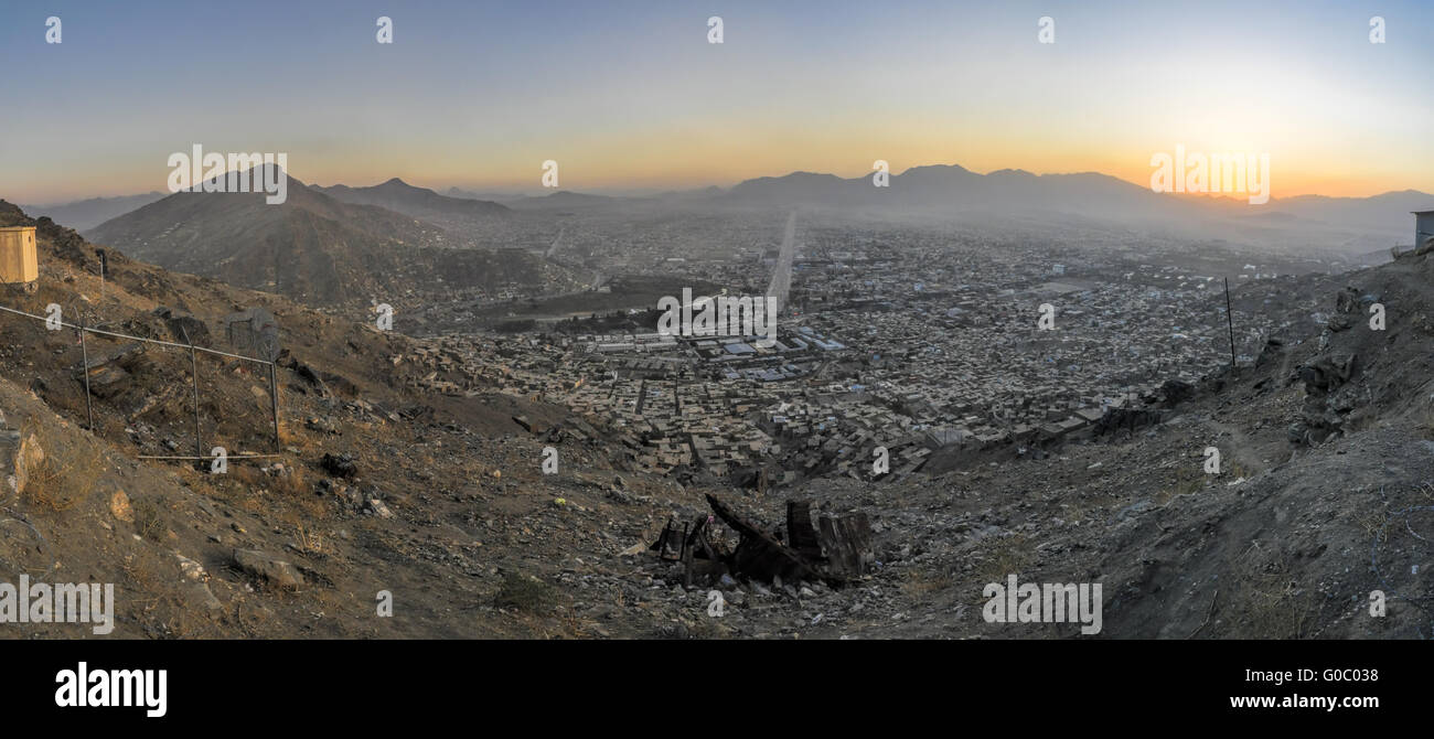 Scenic panorama of sunset in Kabul - Stock Image