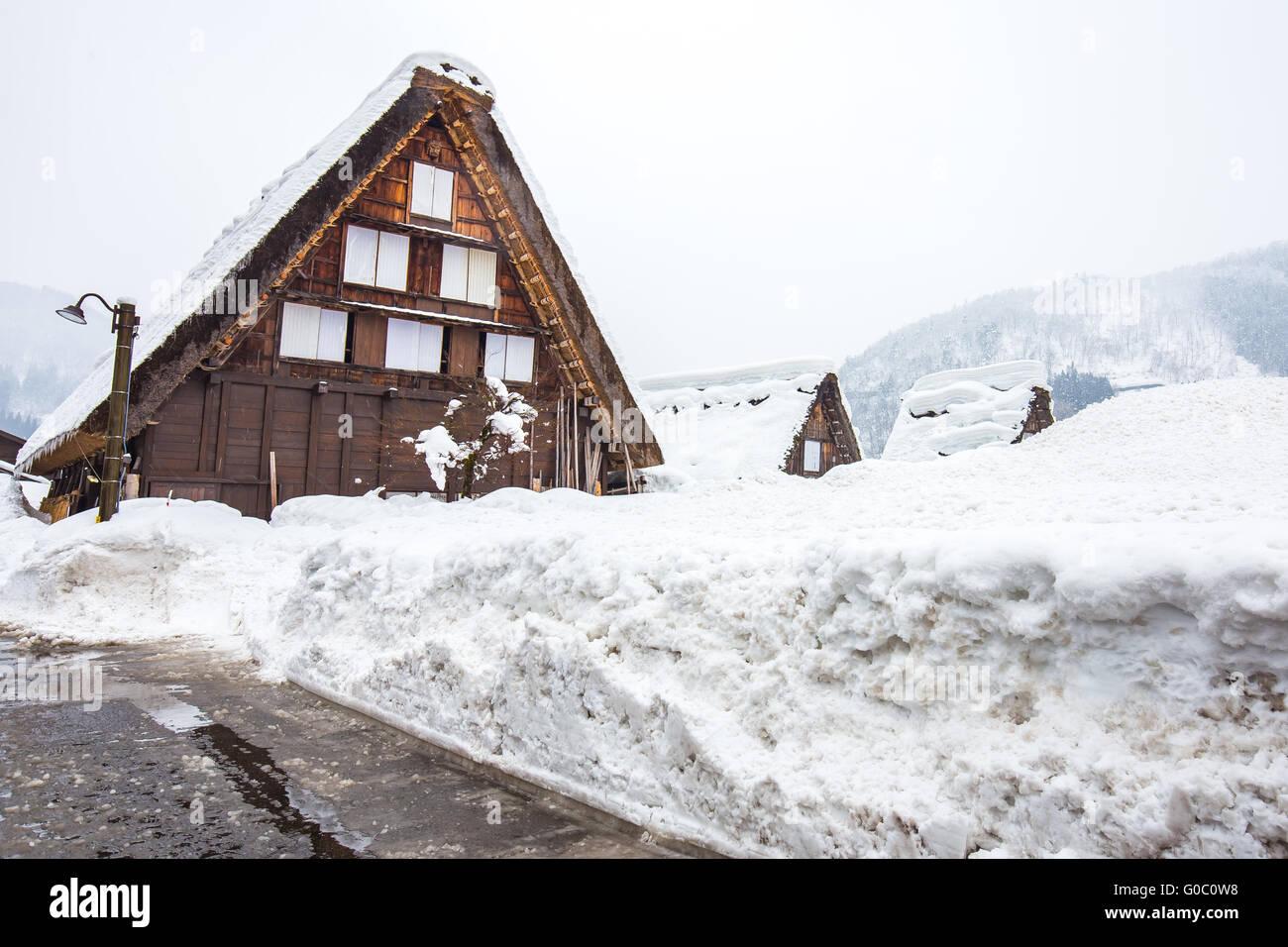 Winter at Shirakawa-go in Japan. - Stock Image