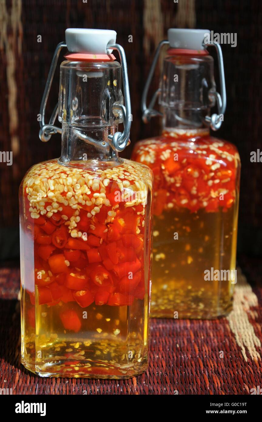 Vinegar with Chilli Stock Photo