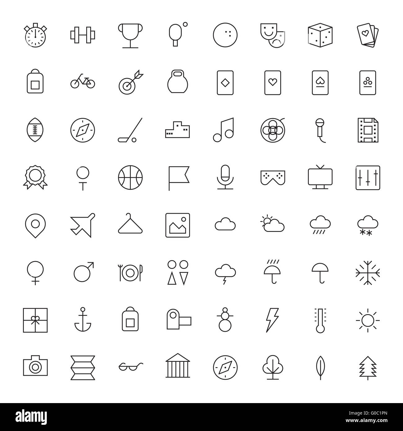 Thin Line Icons For Leisure, Sport, Travel and Weather - Stock Image
