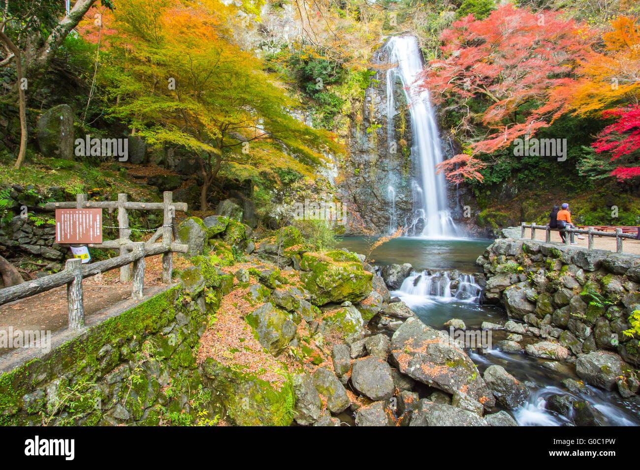Autumn at Minoo Waterfall in Kansai, Japan. - Stock Image