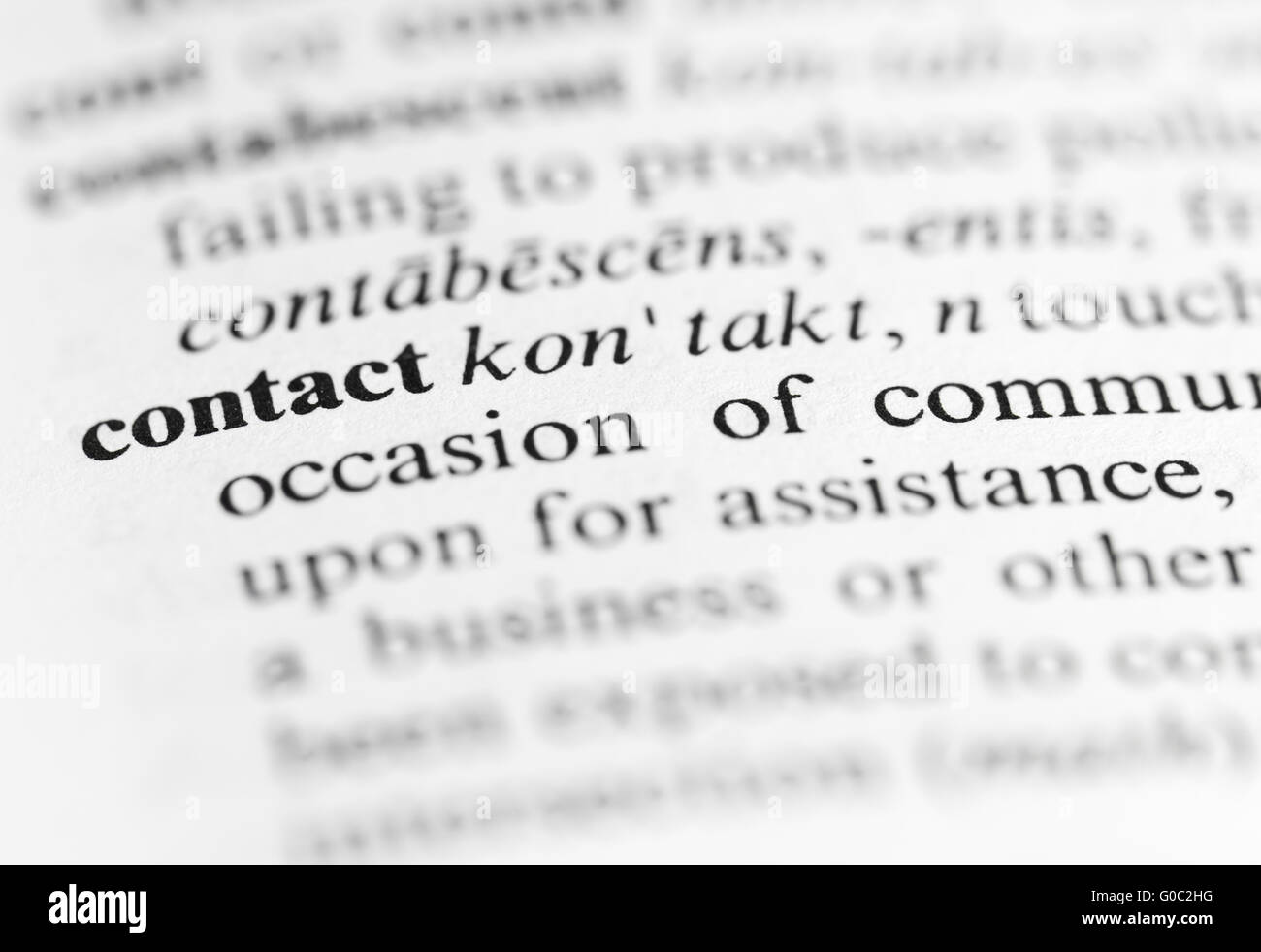 Close up of contact definition - Stock Image