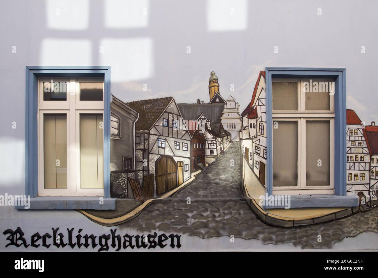 Mural in the inner city in Recklinghausen, Germany - Stock Image