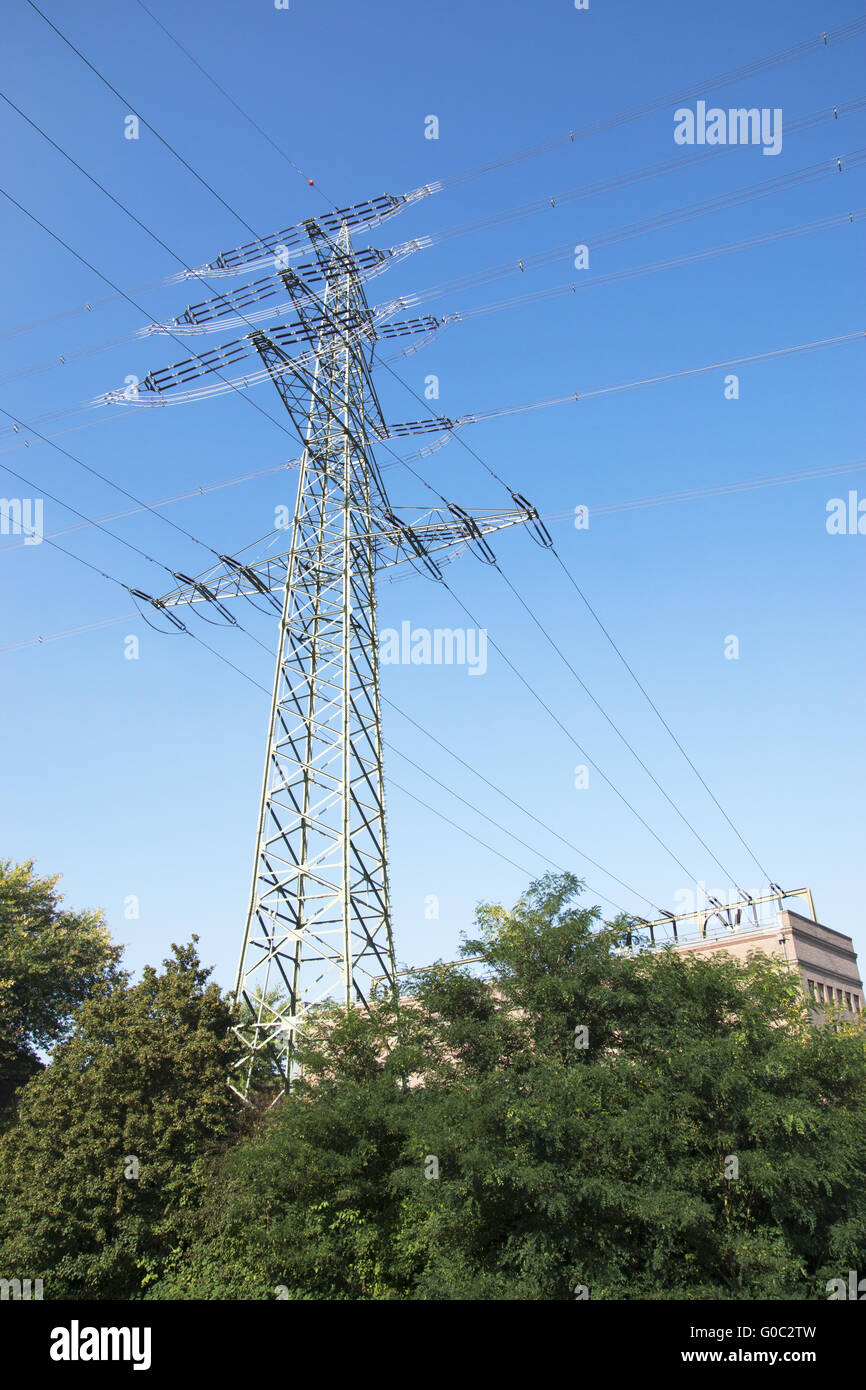 High Voltage at the Historical Relay Station in Re - Stock Image