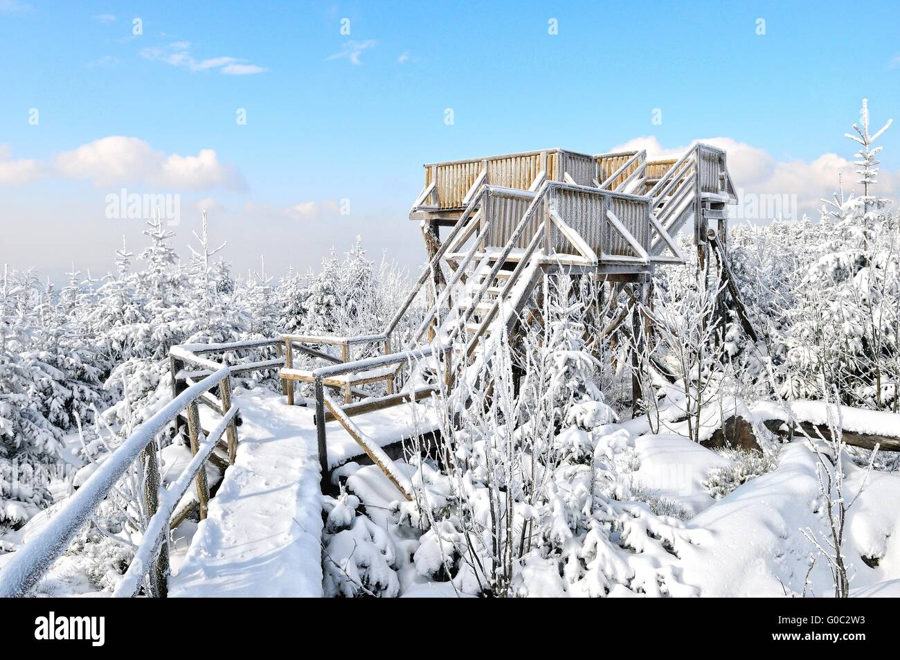 Lothar Path observation tower Black Forest German Stock Photo