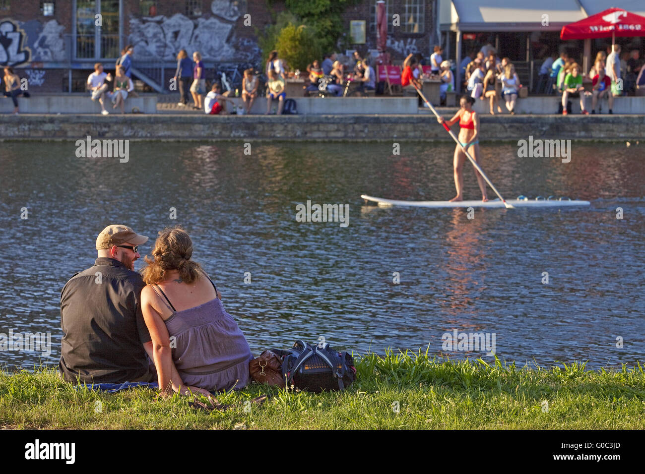 People on Kreativkai, Muenster, Germany - Stock Image