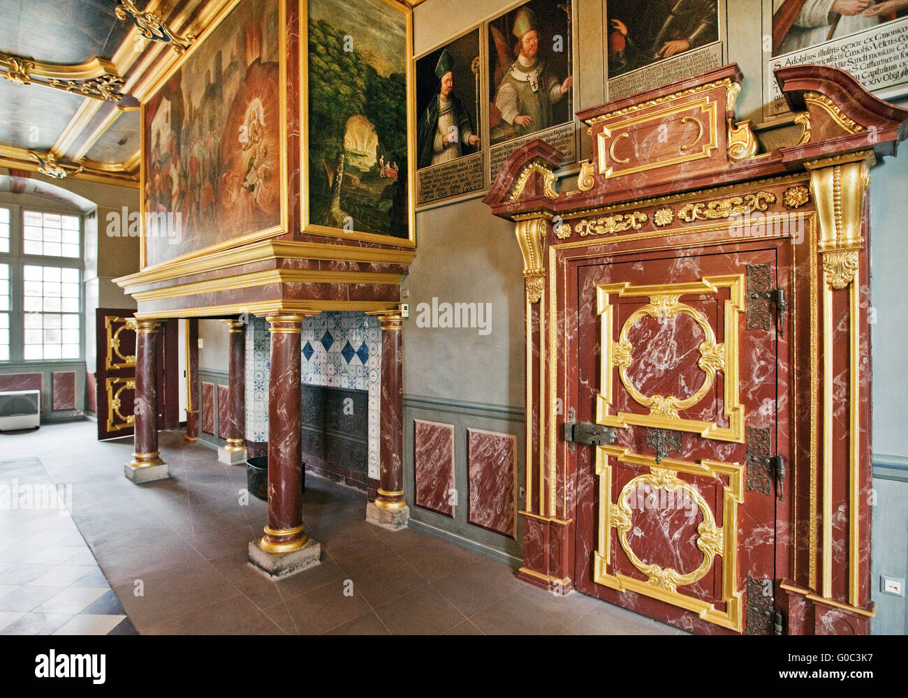 Knights hall, castle Iburg, Germany - Stock Image