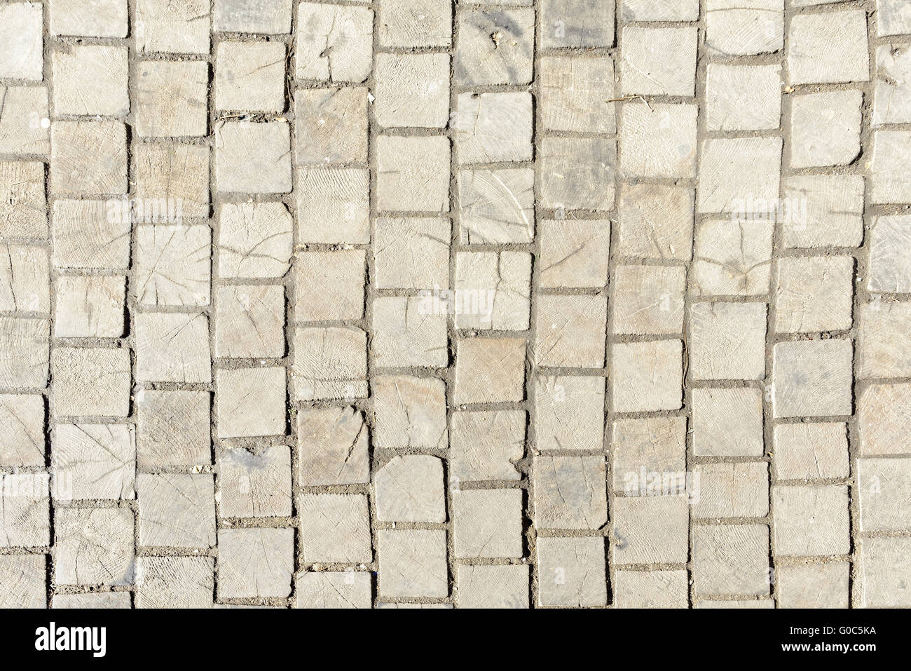 Wooden pavement - Stock Image