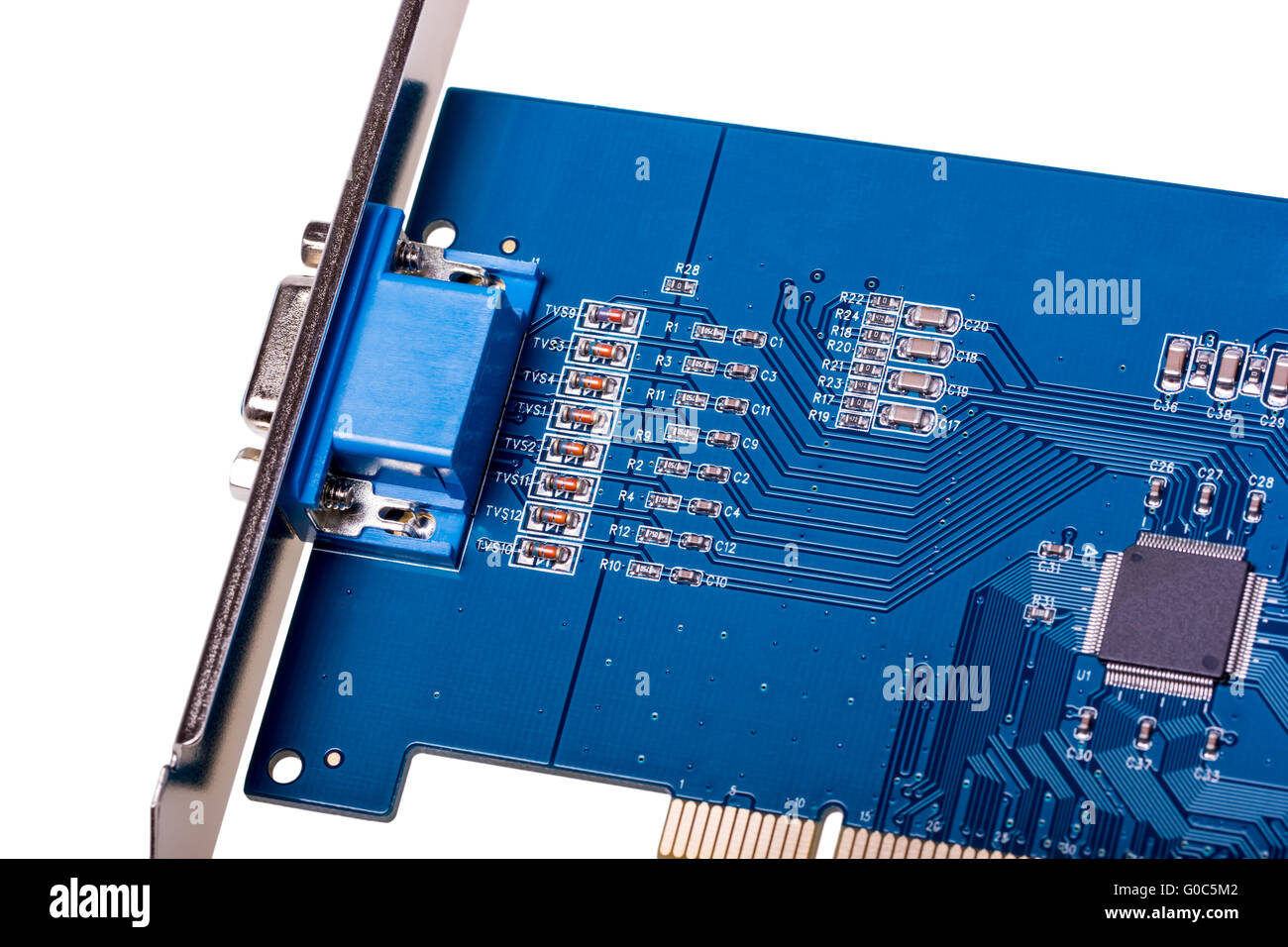 Computer video capture card isolated on white - Stock Image