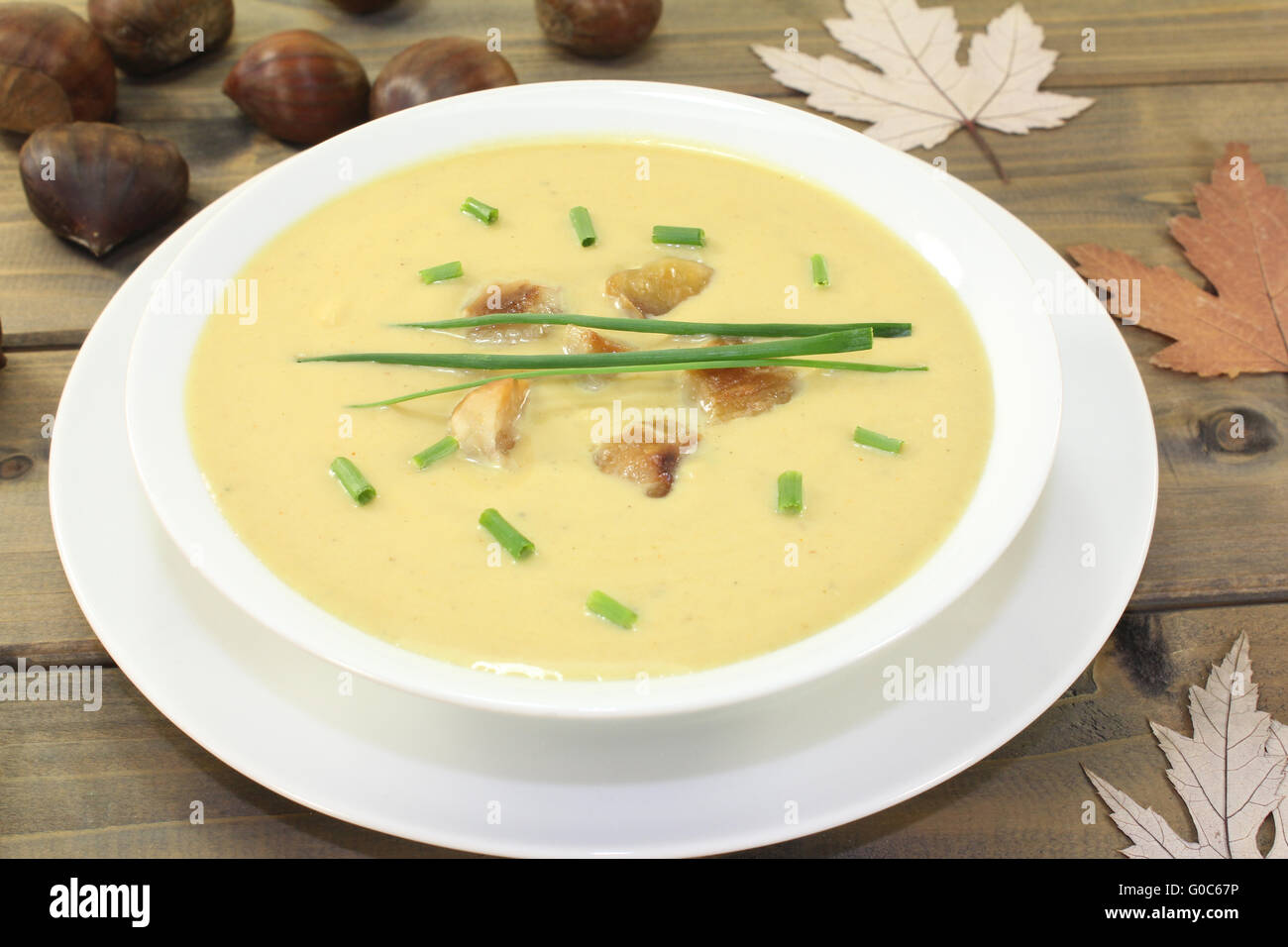 delicious homemade chestnut soup with chives - Stock Image