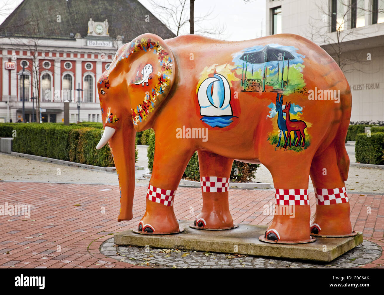 Elephant sculpture, Hamm, Germany - Stock Image