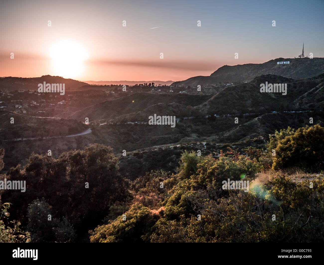 Sunset over Hollywood Hills - Stock Image