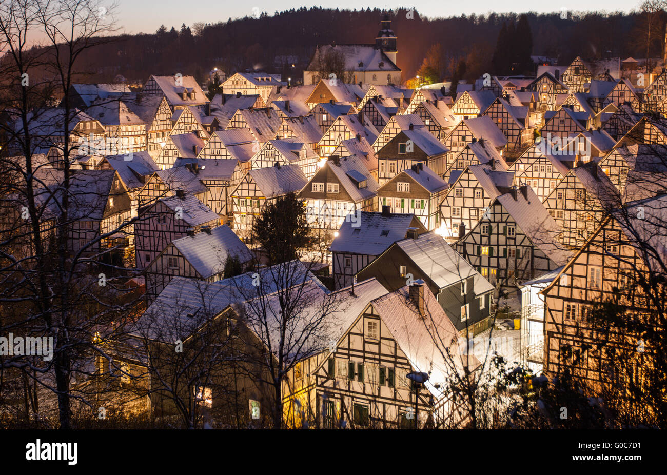 Half timbered houses with snow Stock Photo