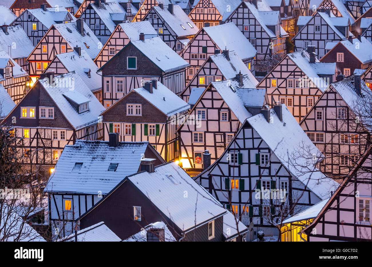 Details of half timbered houses Stock Photo