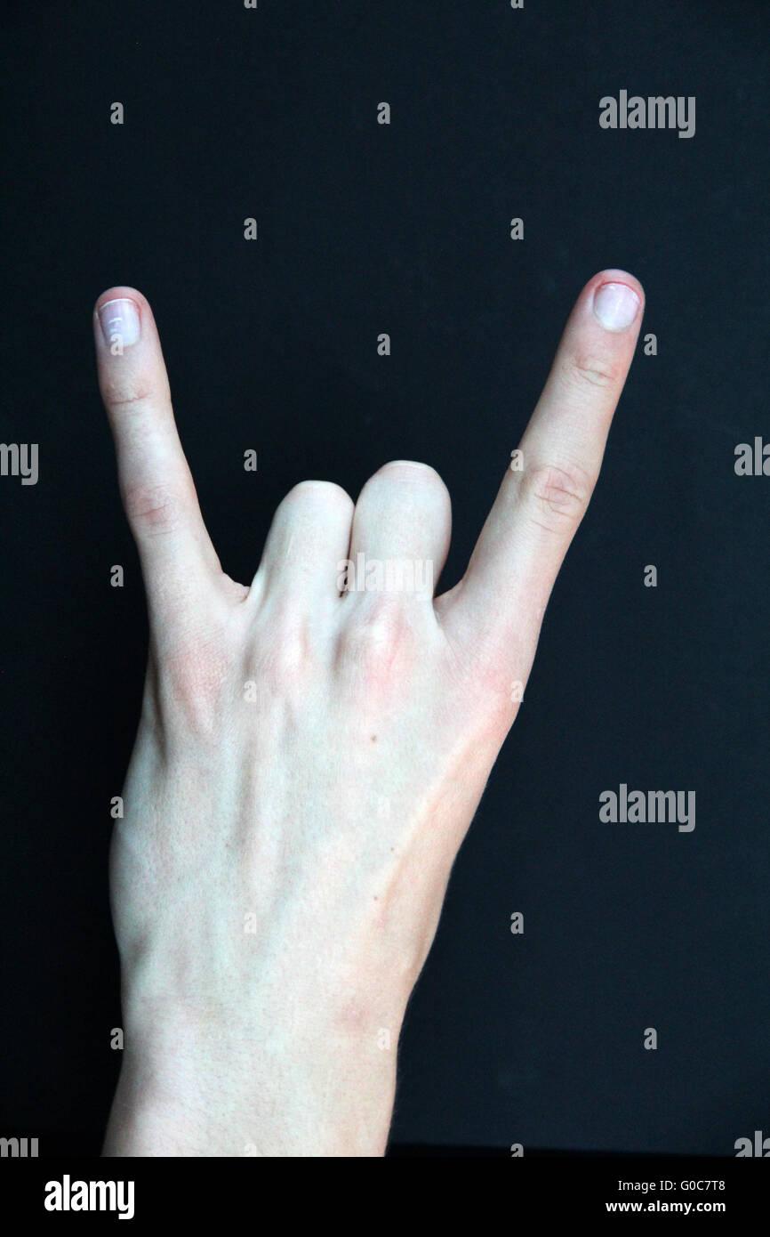 Devil Horns Gesture, Metal Sign - Stock Image