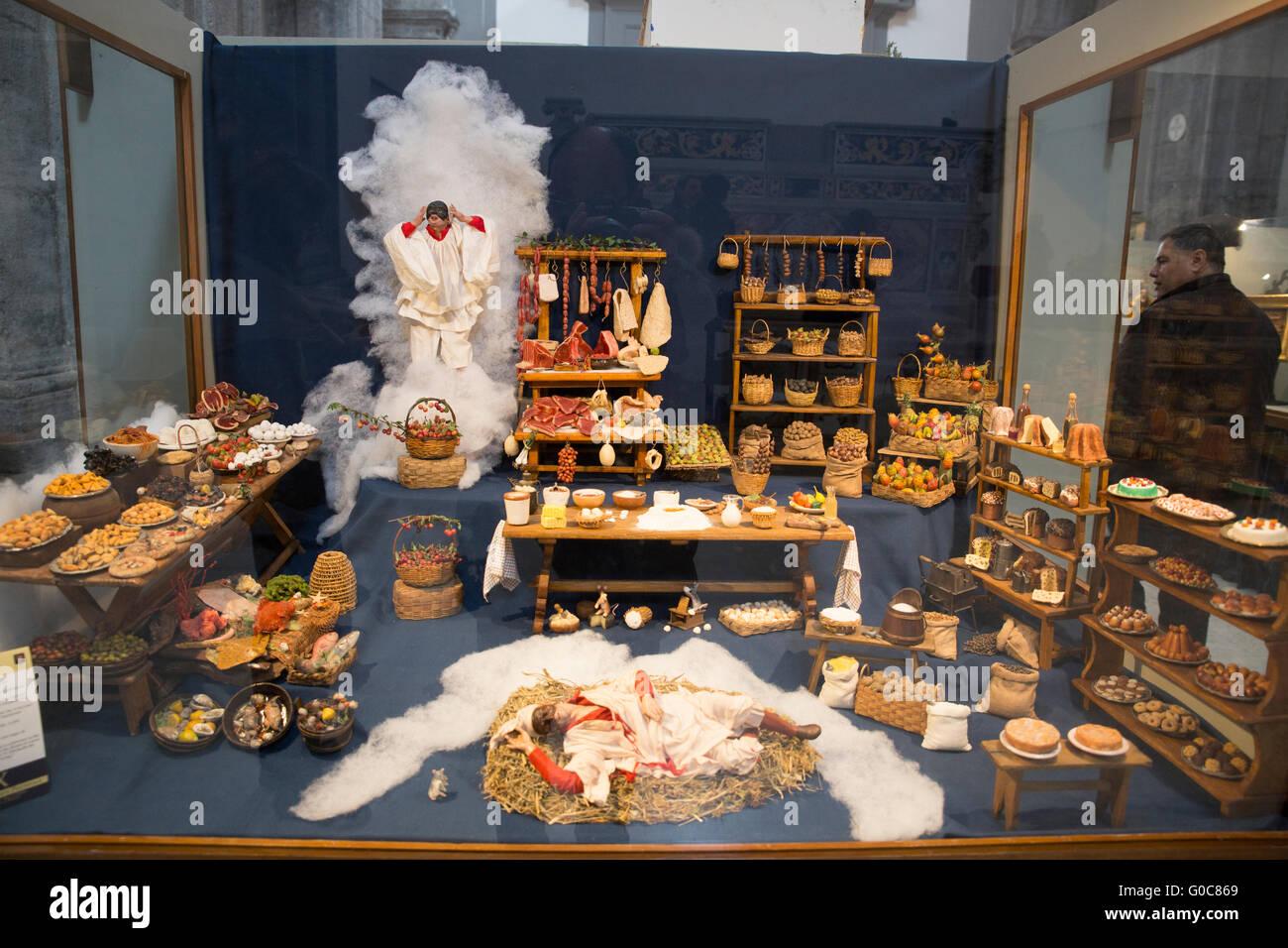 Santons workshop in San Gregorio Armeno street, Naples, Campania region, southern Italy, Europe Stock Photo