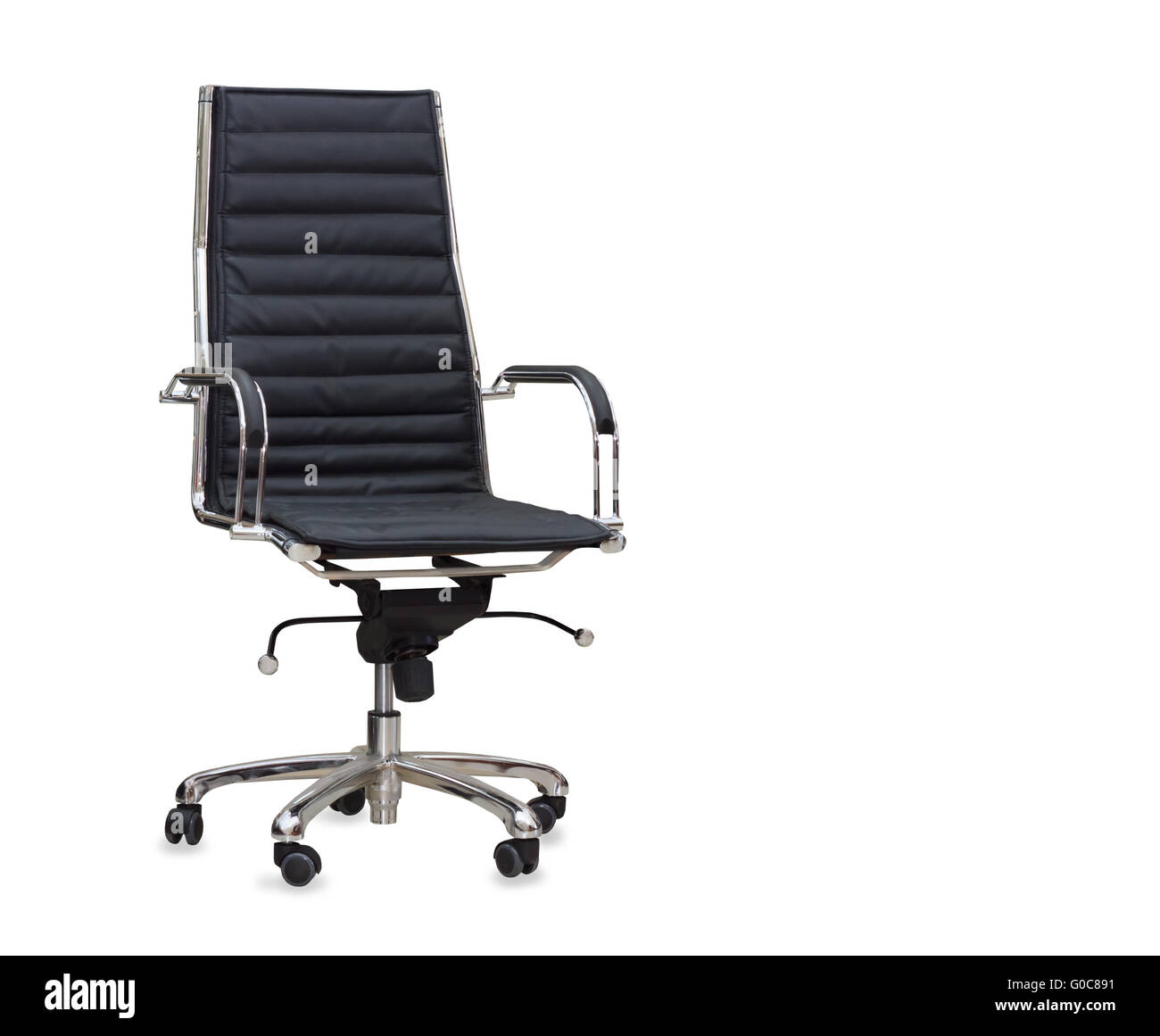 The office chair from black leather. Isolated - Stock Image
