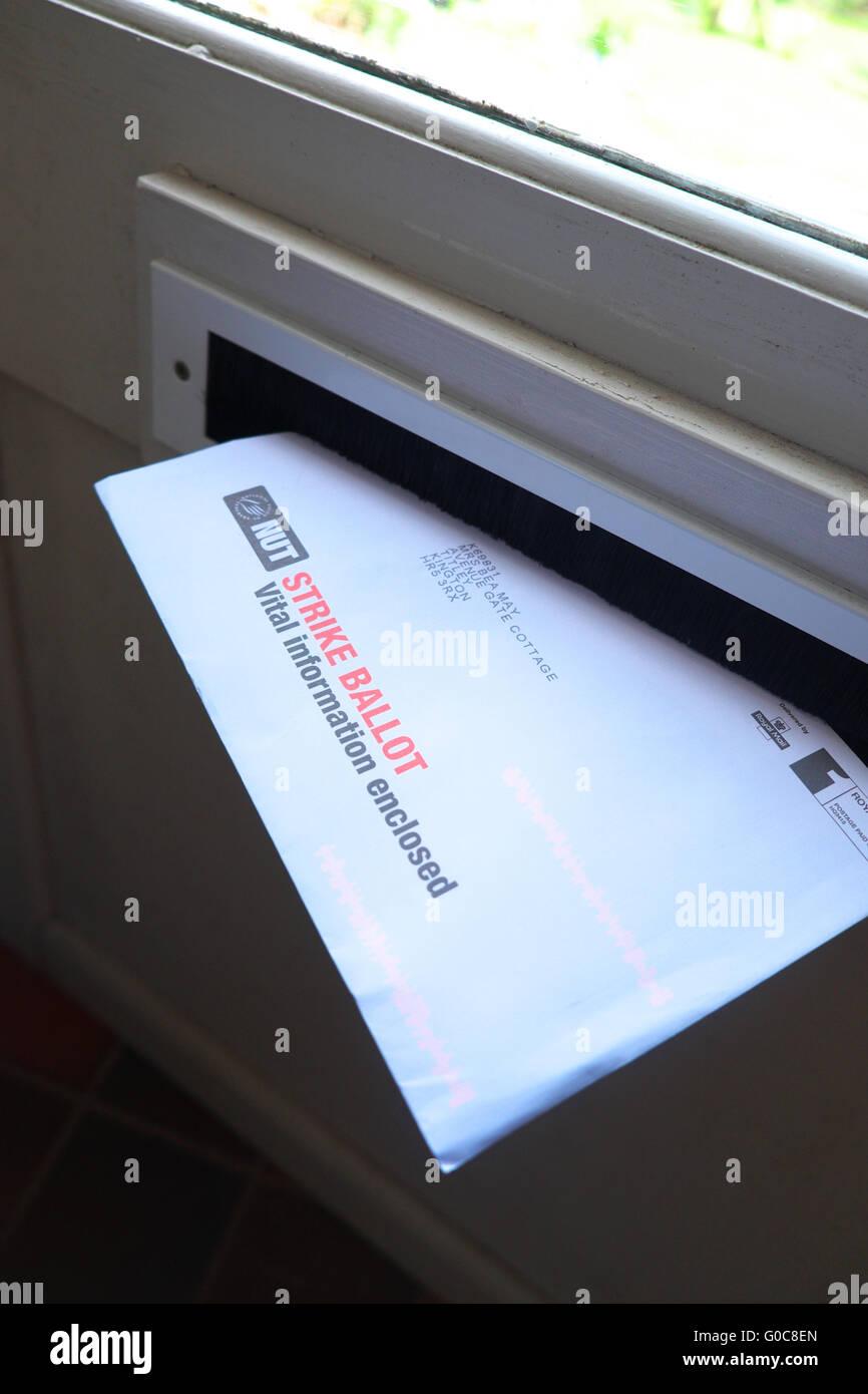 NUT teachers union strike ballot voting papers in postal ballot mailshot - Stock Image