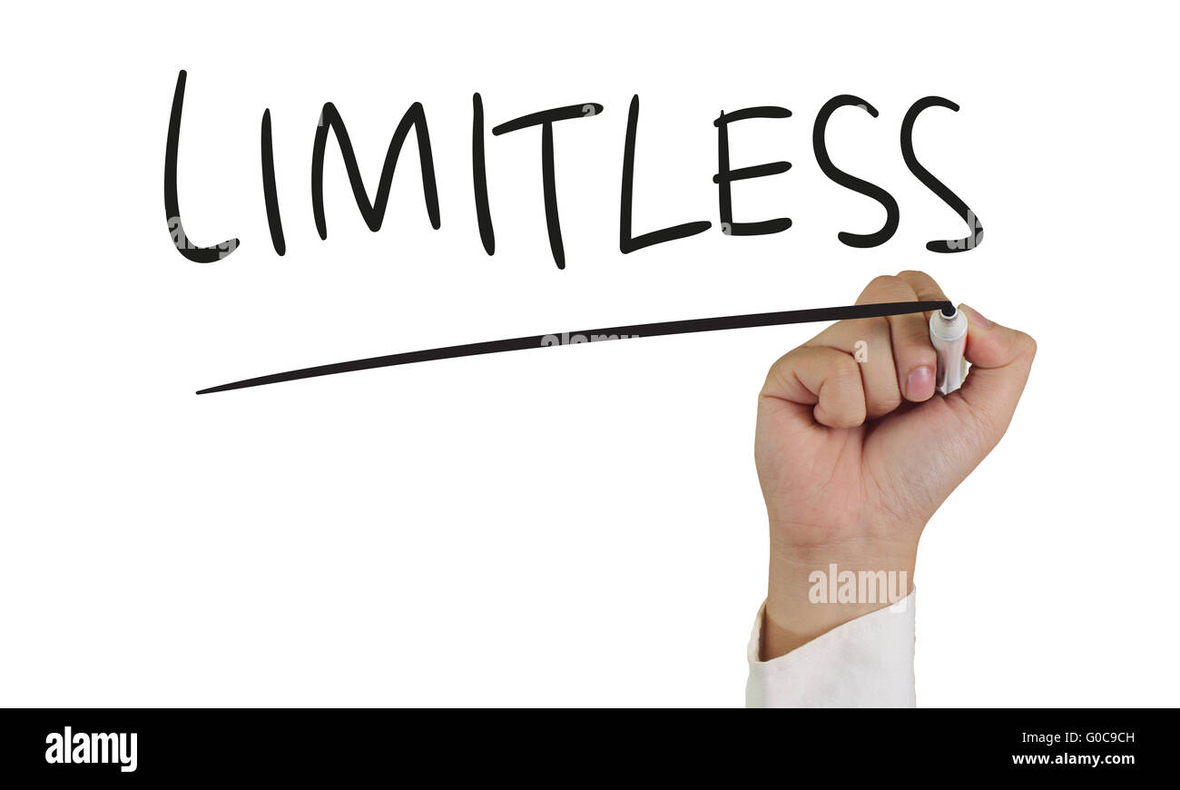 Business concept image of a hand holding marker and write Limitless isolated on white - Stock Image