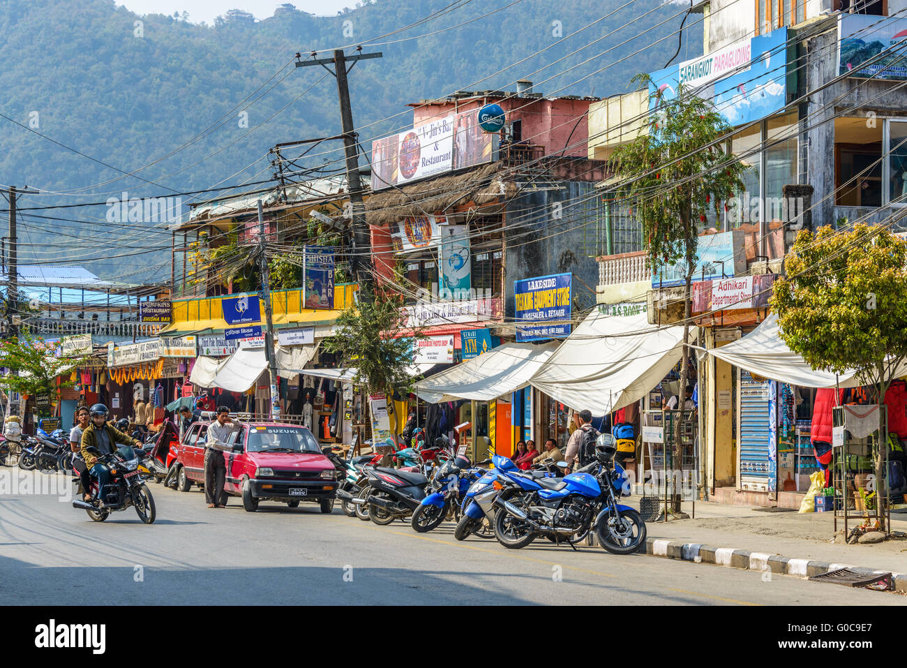 Lakeside in Pokhara, Nepal - Stock Image