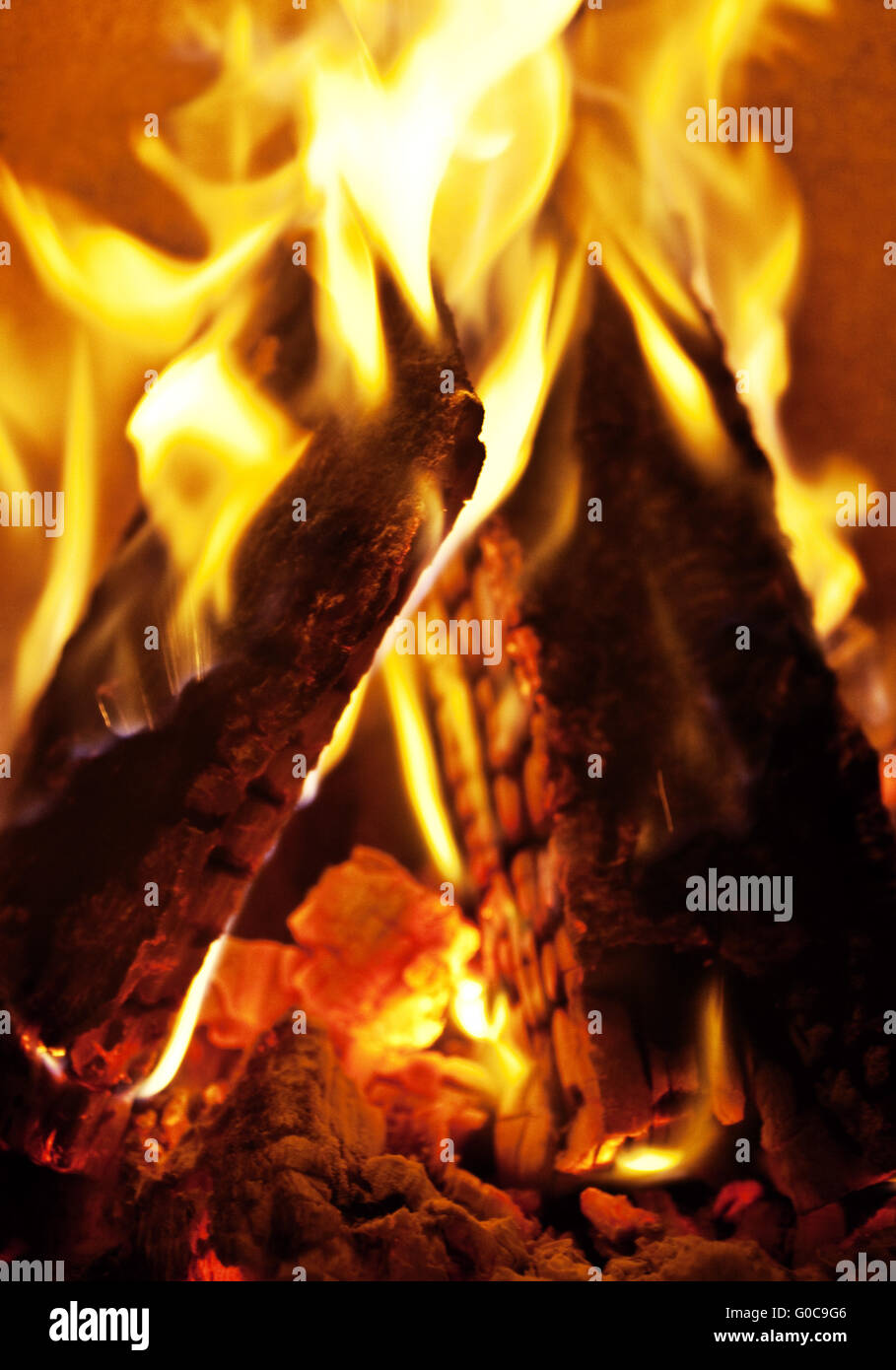 Fire in a fireplace, Germany, Europe Stock Photo