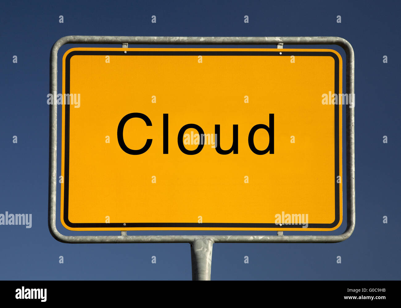 Town sign cloud, symbolic foto - Stock Image