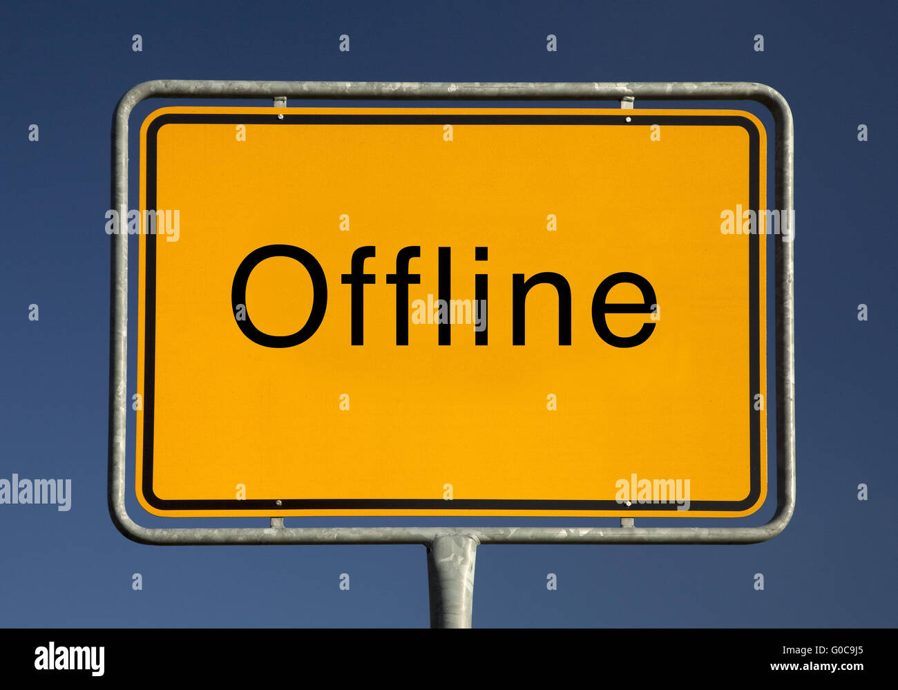 Town sign offline, symbolic foto - Stock Image