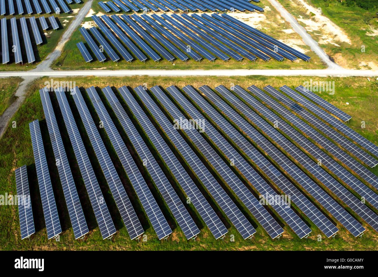 Solar farm, solar panels aerial view - Stock Image