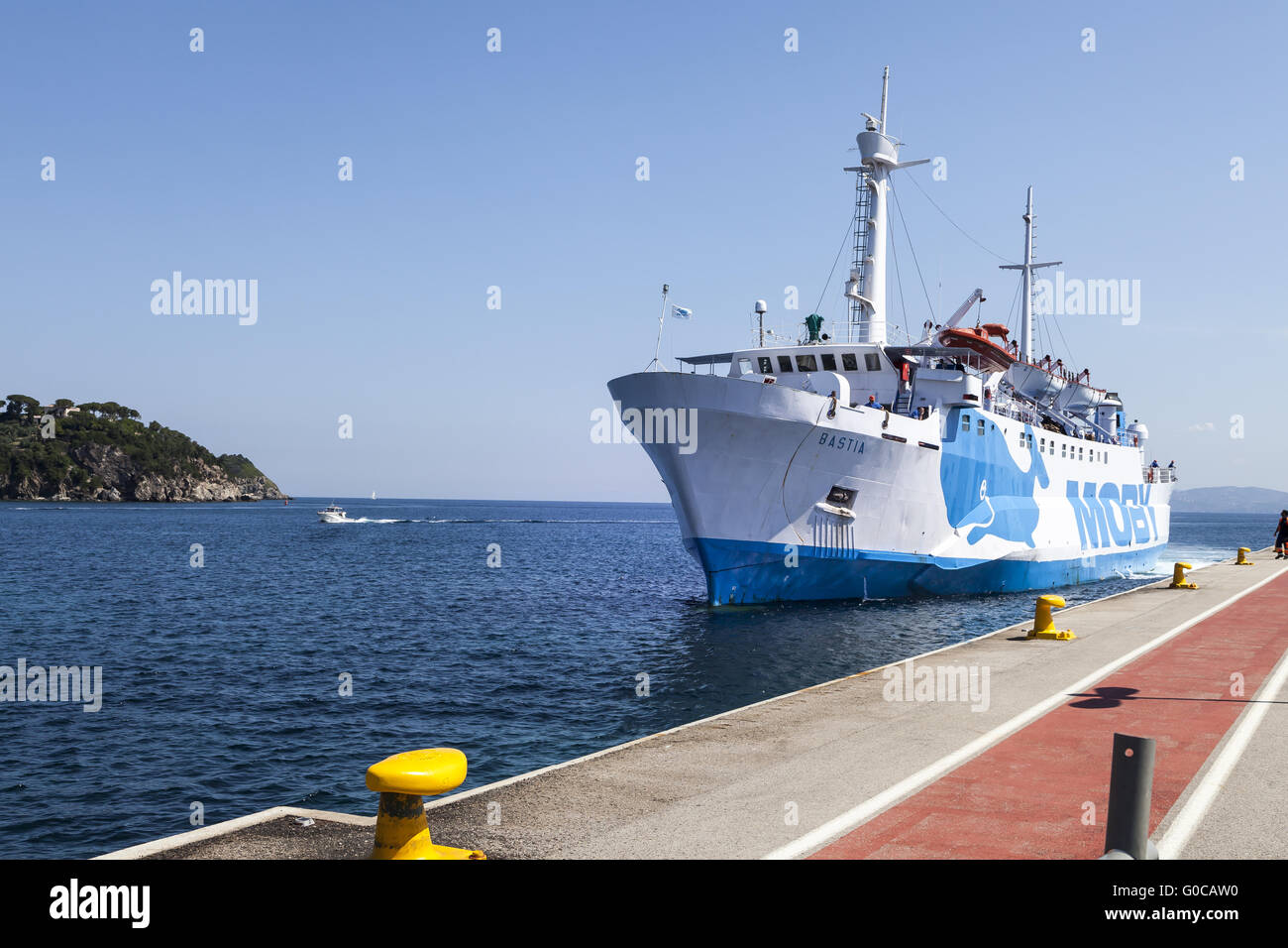 Moby lines car ferry in Port of Cavo, Elba island - Stock Image
