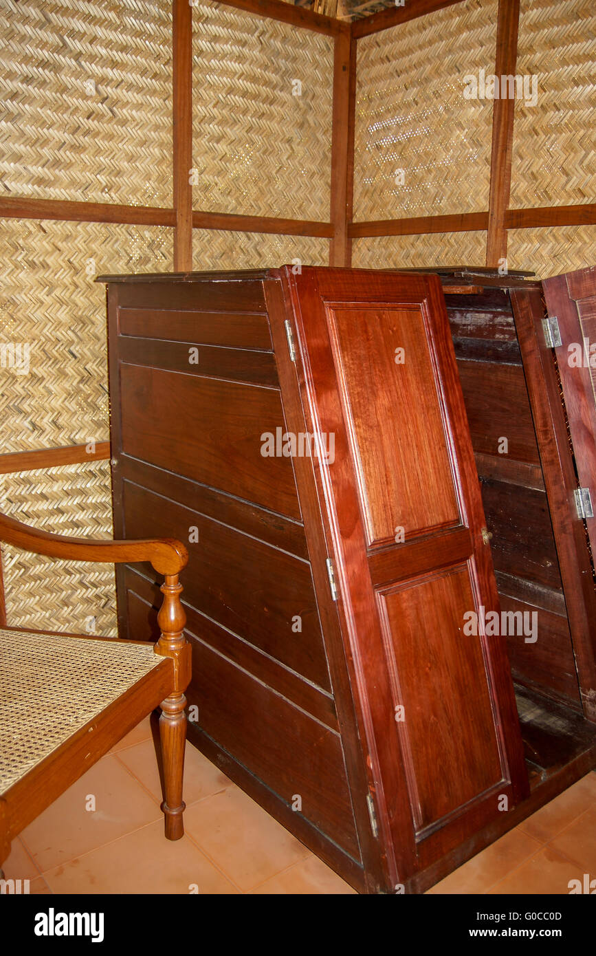 View of a wooden sauna box in an Ayurvedic clinic - Stock Image