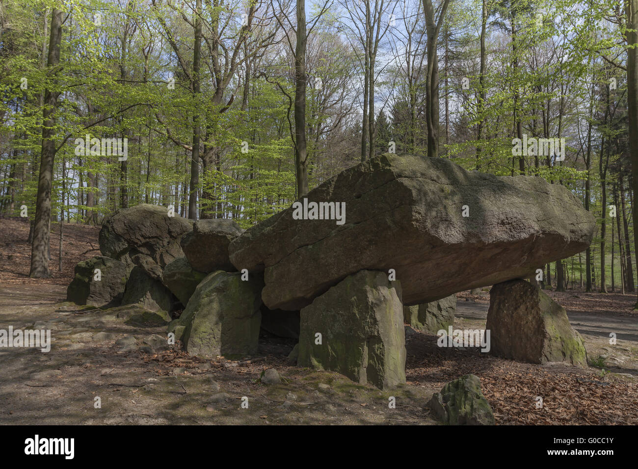 Neolithic passage grave, Megalithic stones, German Stock Photo