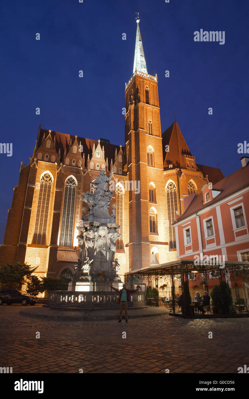 Church of the Holy Cross and St Bartholomew from 13th century at night in Wroclaw, Poland, statue, sculpture of Stock Photo