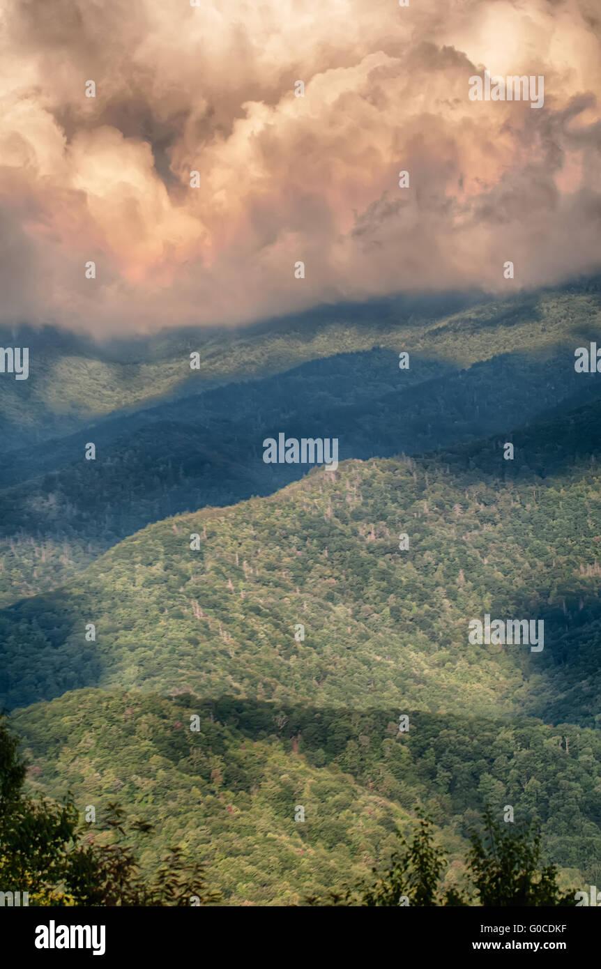Blue Ridge Parkway Scenic Mountains Overlook Summer Landscape - Stock Image
