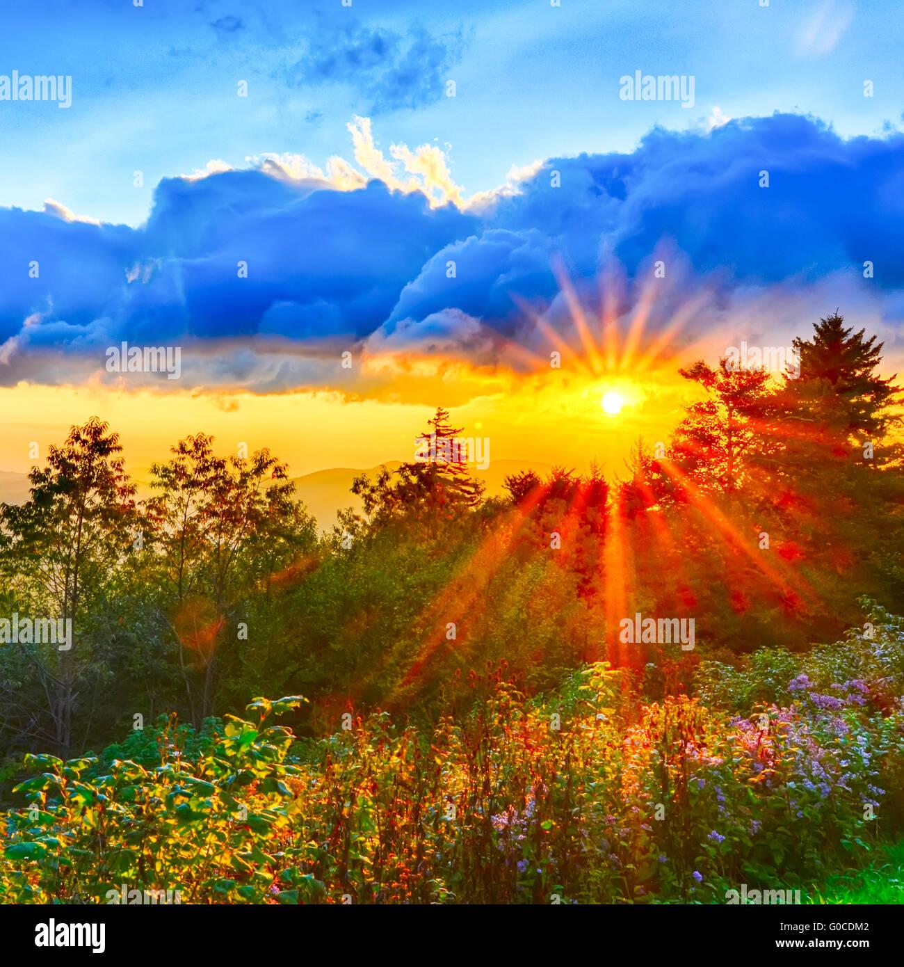 Blue Ridge Parkway late summer Appalachian Mountains Sunset Western NC Scenic Landscape vacation destination - Stock Image