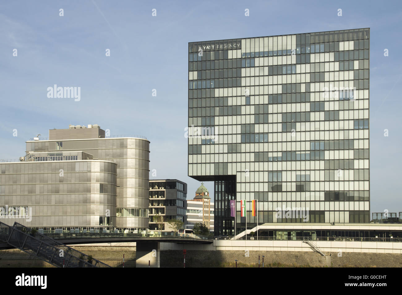 Buildings at the Speditionsstrasse in the Mediahar - Stock Image