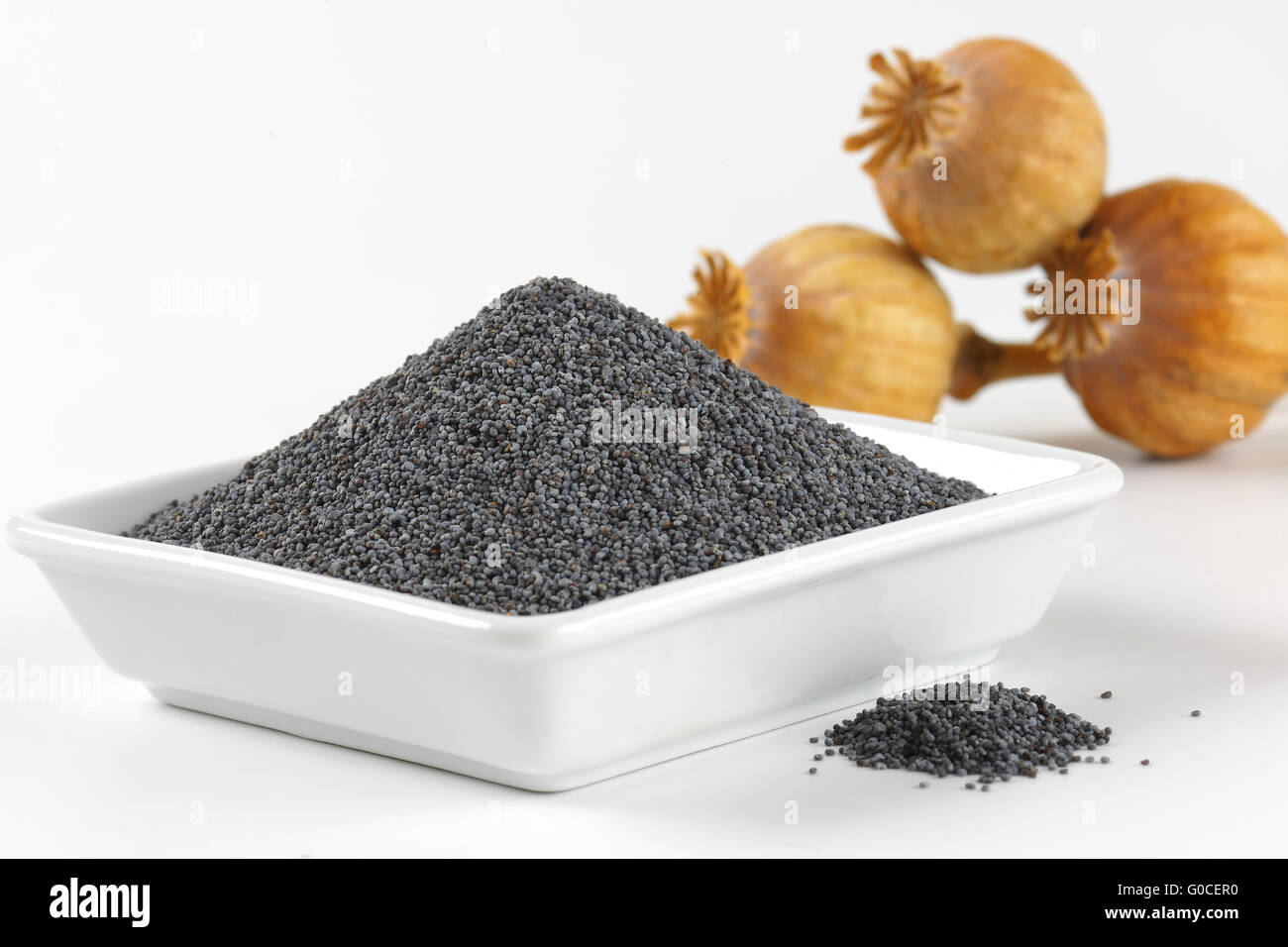 bowl of poppy seeds and poppy heads - close up - Stock Image