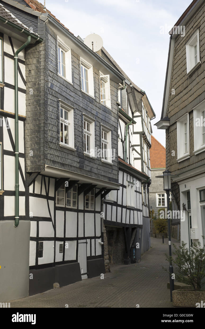 Half-Timbered houses on the church-street in Hatti - Stock Image