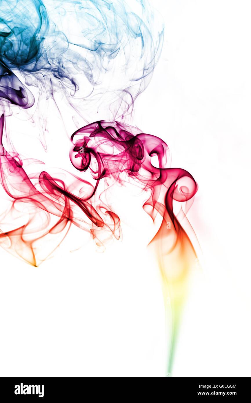 Beautiful smoke on the white background - macro photo - Stock Image