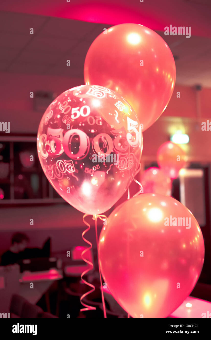 Pink 50th Birthday Balloons Party