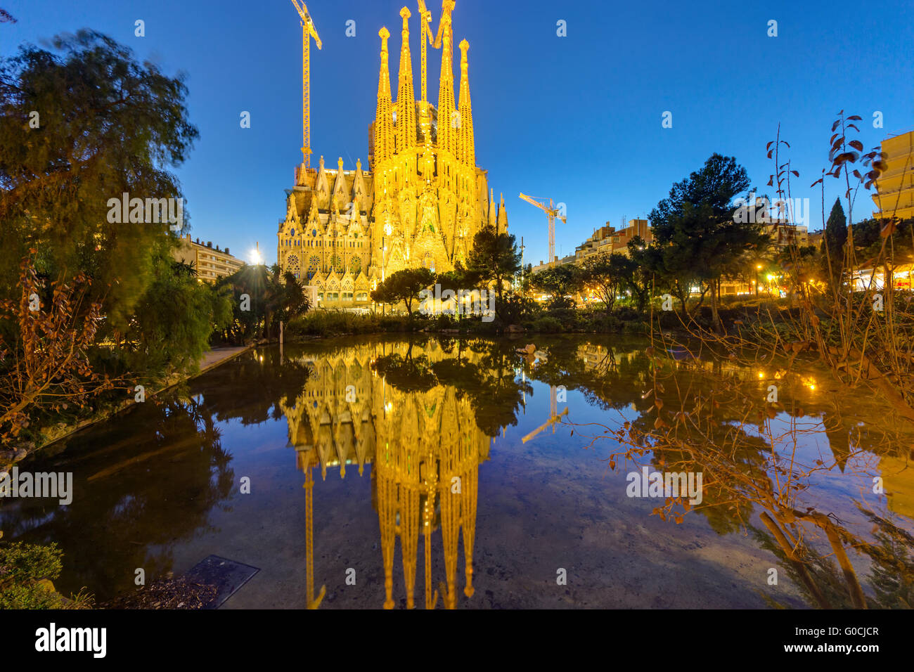 The famous Sagrada Familia in Barcelona at dawn - Stock Image