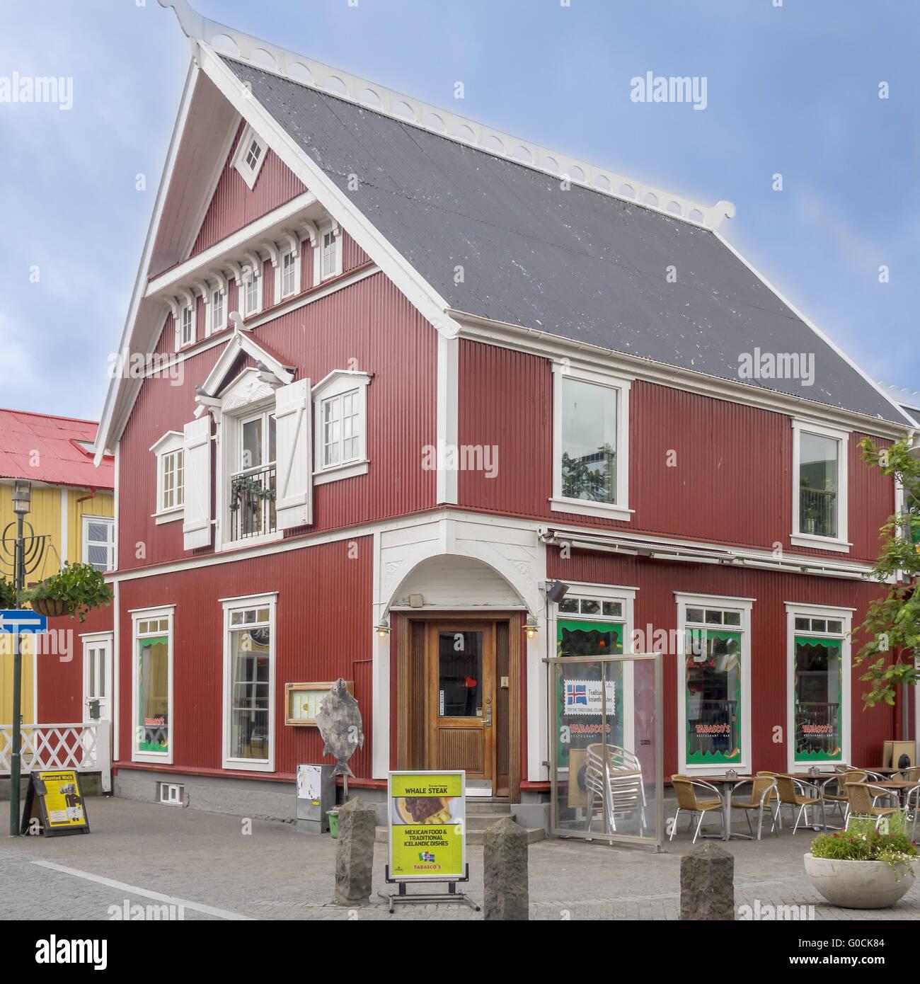 Restaurant Selling Whale Steaks Reykjavik Iceland - Stock Image