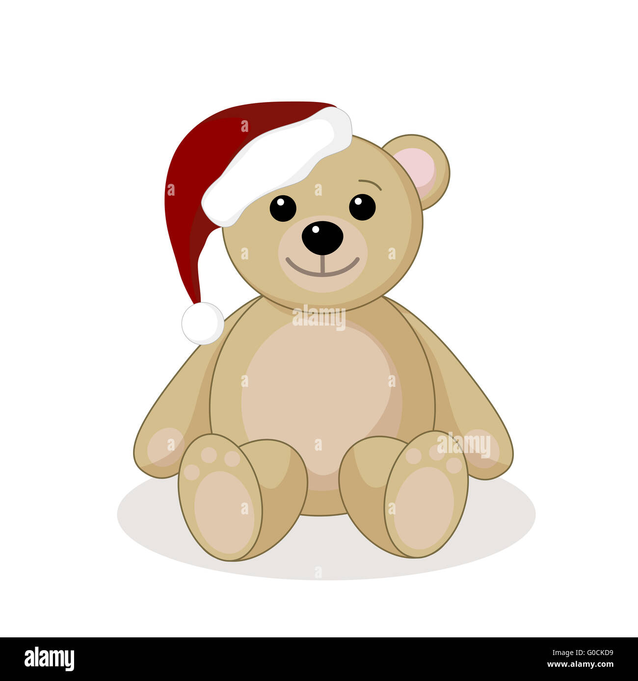 Teddy with Santa hat - Stock Image