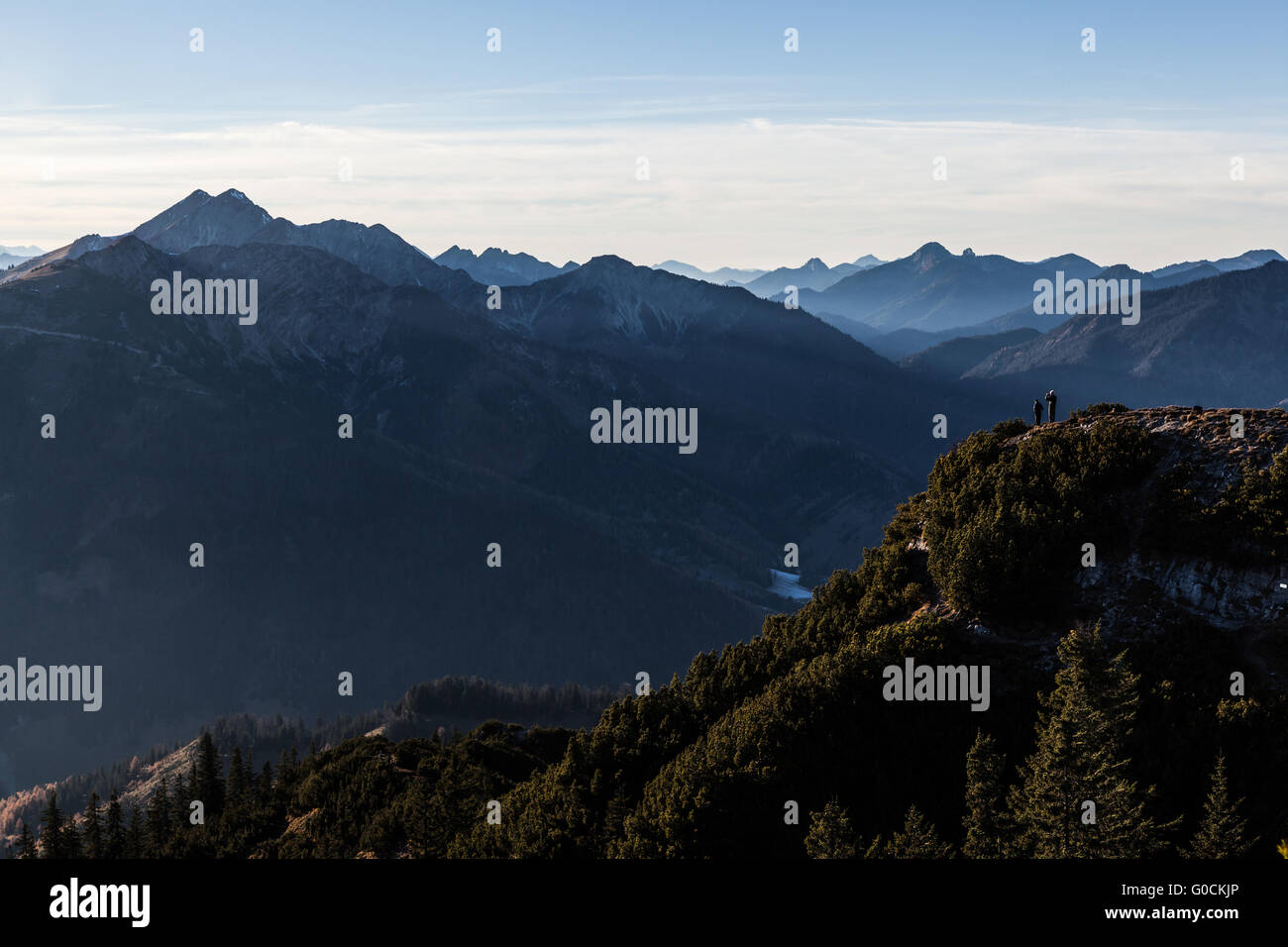 View from summit of Mt. Trainsjoch Stock Photo