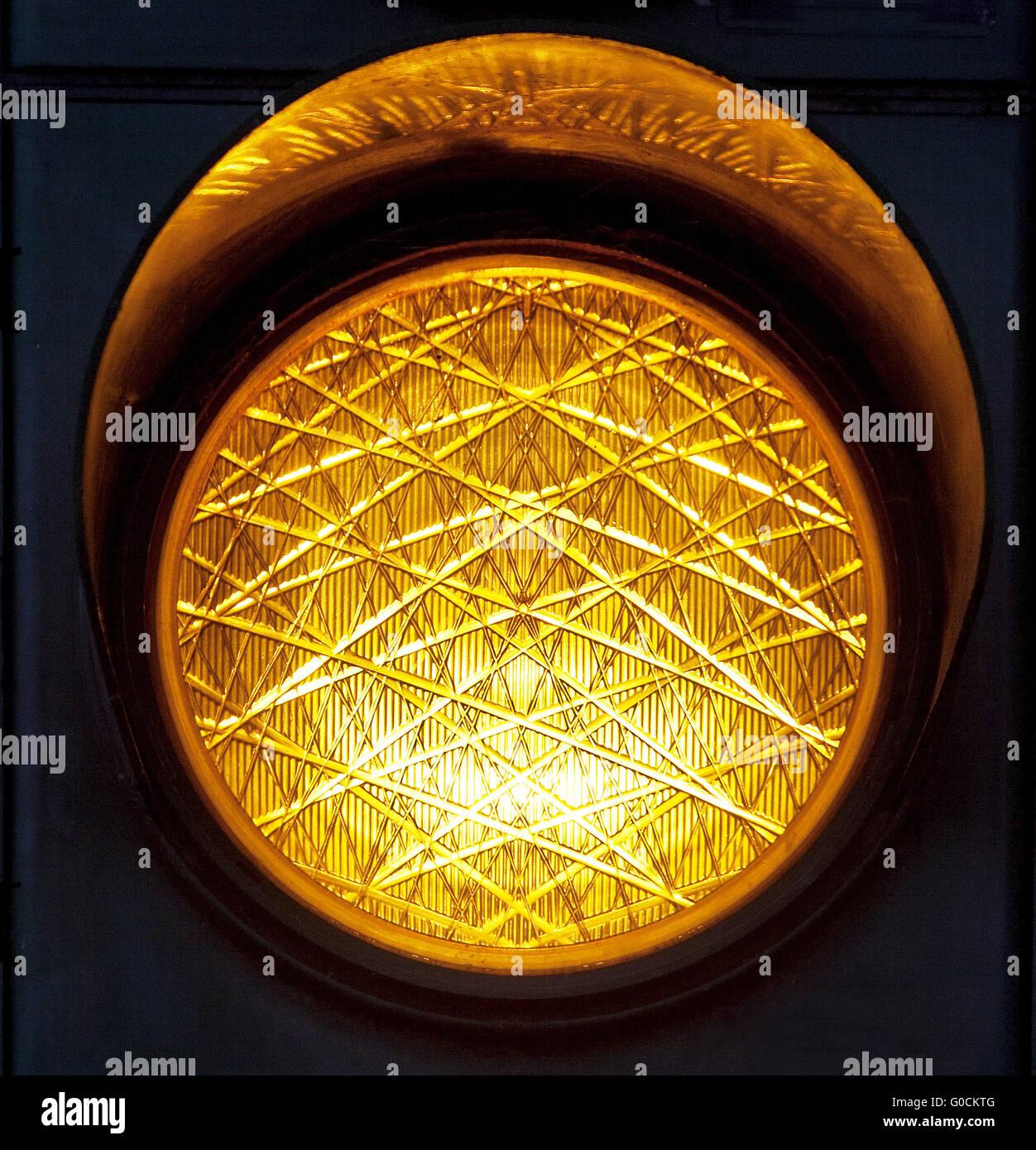 Yellow traffic light, Germany - Stock Image
