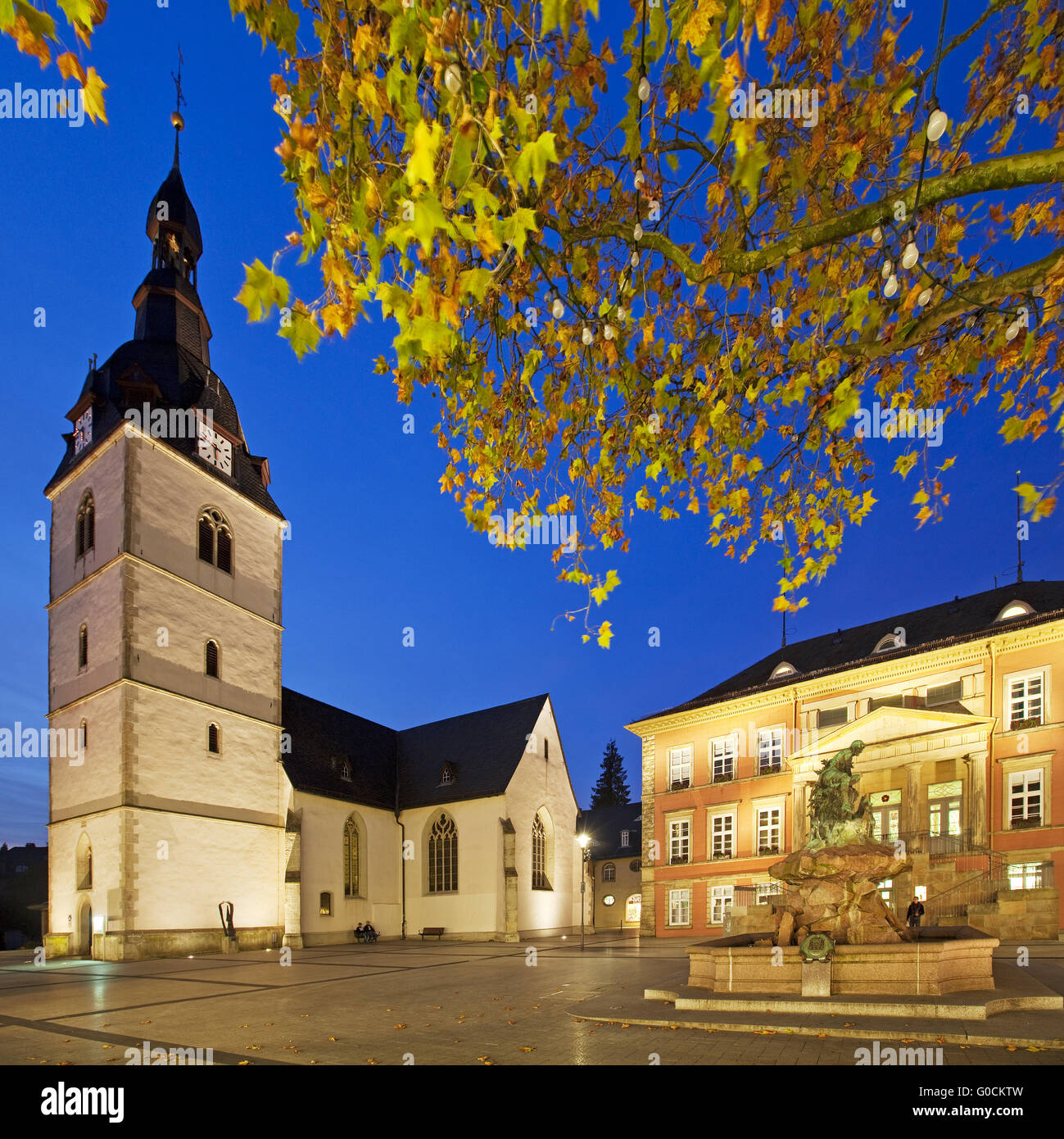 Old Town, Market Church and Town Hall, Detmold - Stock Image