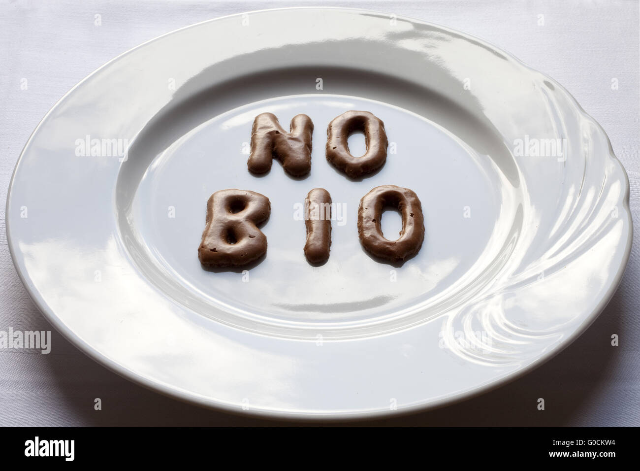 Letters forming the word no Bio on a plate - Stock Image