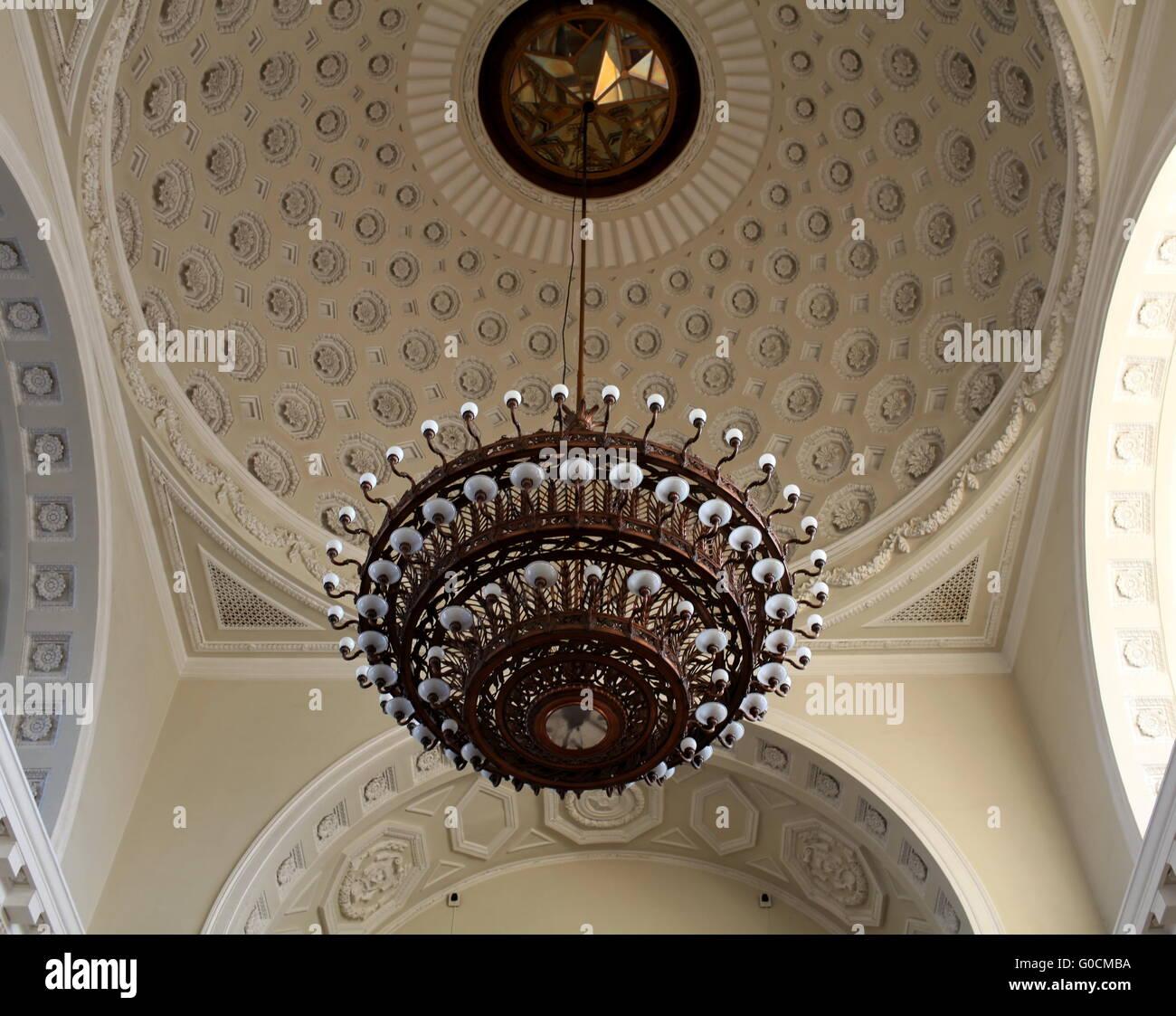 old Bronze chandelier - Stock Image