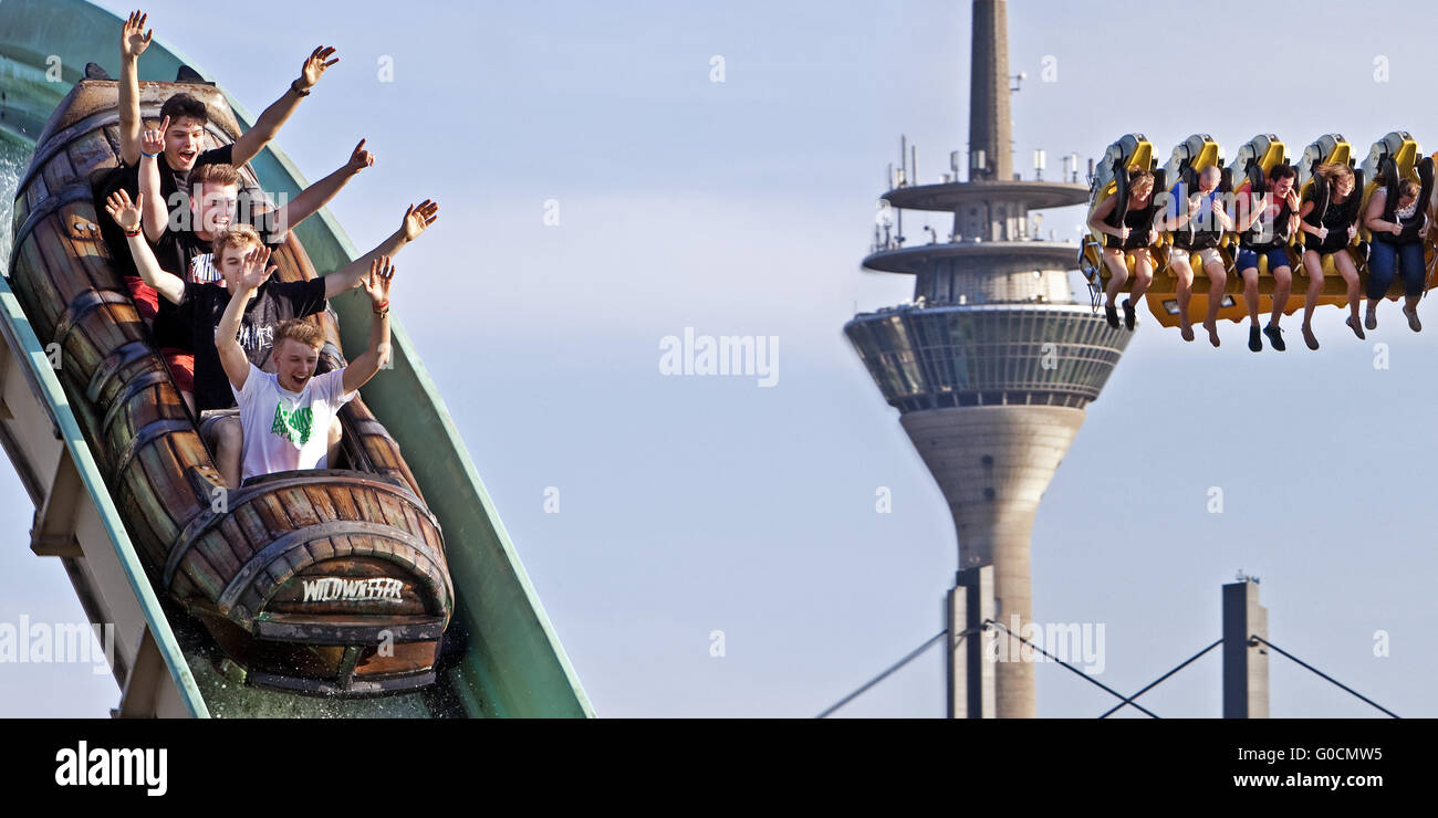 four young men on white-water ride, Rhine Tower - Stock Image