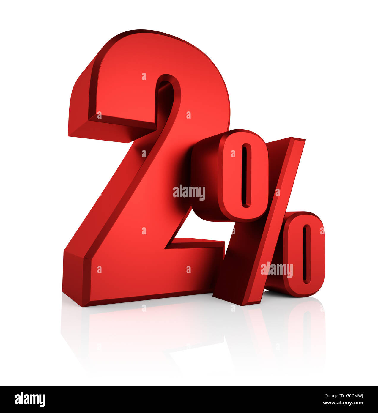 Red 2 Percent Stock Photo