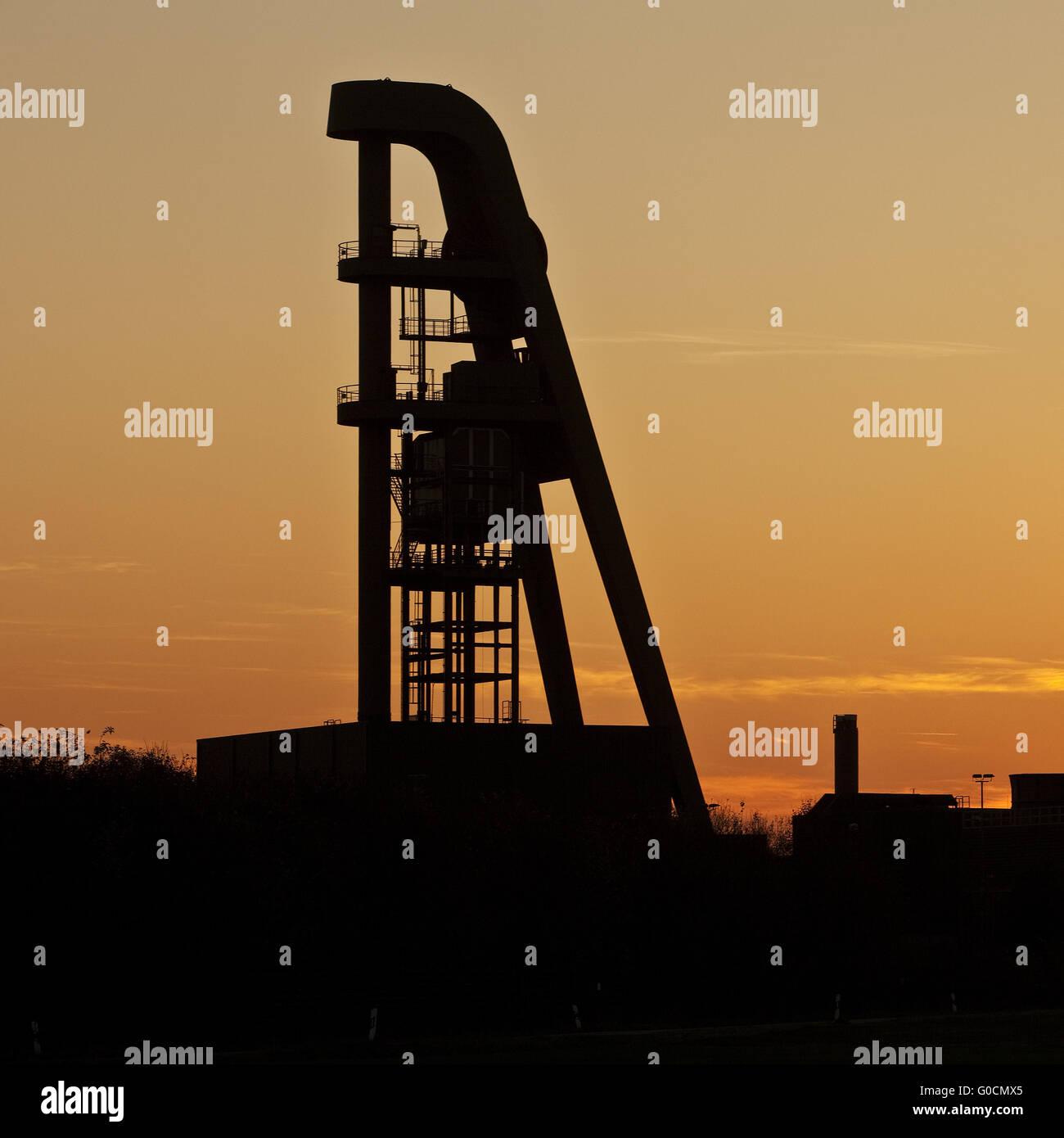 pit frame of Lerche shaft at sunset, Hamm, Germany - Stock Image